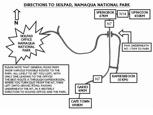 Namaqua National Park Directions Map